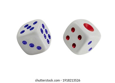 Two white dices isolated on white. Three, five, six and one, two, four.