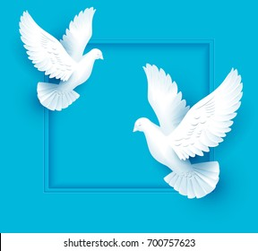 Two white dove fly on blue background. Template illustration greeting card