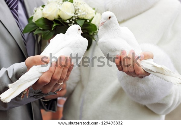 Two white doves.