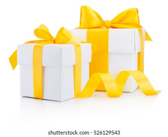 Two white gift boxes tied a yellow ribbon bow Isolated on white background