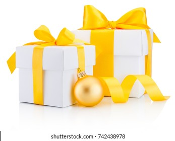 Two white gift boxes tied yellow ribbon bow and bauble Isolated on white background