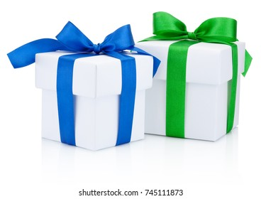 Two white gift boxes tied a blue and green ribbon bow Isolated on white background