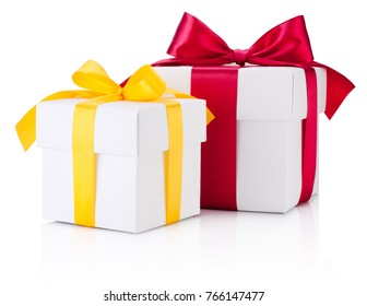 Two white gift boxes tied yellow and burgundy ribbon bow Isolated on white background