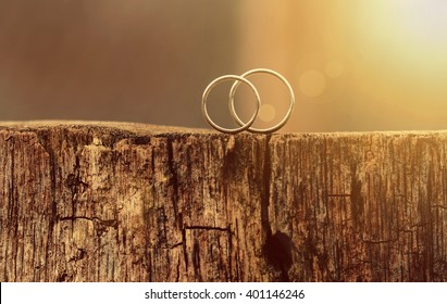 two white gold wedding rings on the wood