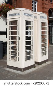 Two white Hull telephone box, at Beverley, East Yorkshire, UK