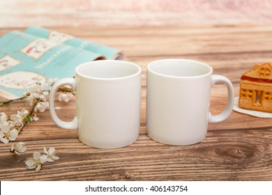Two white mugs for mockup