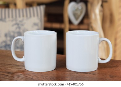 Two white mugs for mock-up