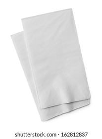 Two White Paper Napkins Isolated on White Background.