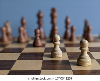 Two white pawns chess piece on a wooden chess board against the whole other team. Strategic placement and play. Rich brown and white checkered board. Mind using boarding games with tactics and skills.