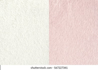 Two white and pink color fabric textures(fleece) for background