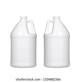 two white plastic gallon jugs isolated on white background