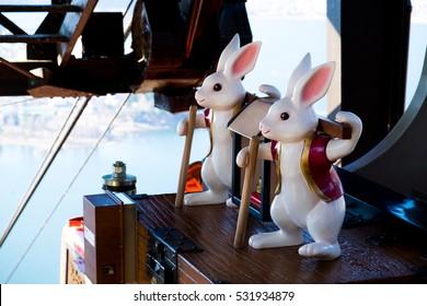 Two White Rabbit statue at Mt.KACHI KACHI ROPEWAY , Kawaguchiko Tenjoyama Park , Japan
