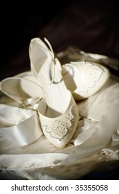two white shoes of the bride