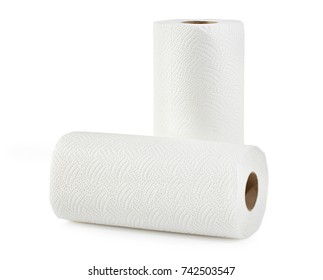 Two white soft paper towels in closeup
