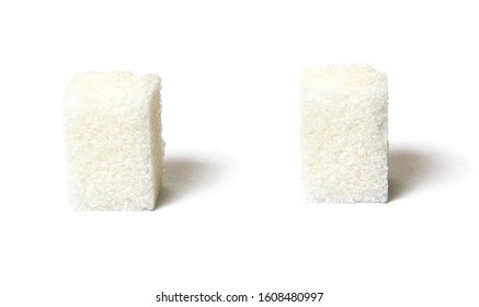 Two white sugar lump with uneven edge isolated of white background Large depth of field