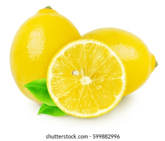 Two whole lemon fruits and slice isolated on white, with clipping path