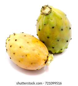 Two whole prickly pears, orange and green yellow opuntia, isolated on white background