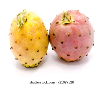 Two whole prickly pears, orange and yellow opuntia, isolated on white background
