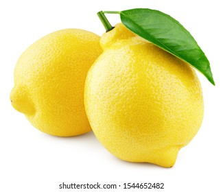 Two whole yellow lemons with green leaf isolated on white background. Lemons citrus fruit with clipping path. Full depth of field.
