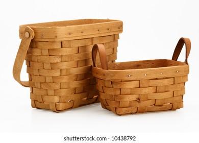 two wicker basket orange color image garden tool