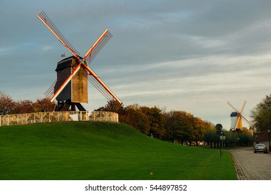 Two windmills in Bruges, Belgium