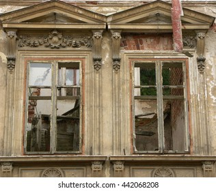 two windows of an ancient ruined villa