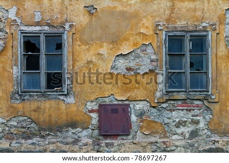 two windows devastated house