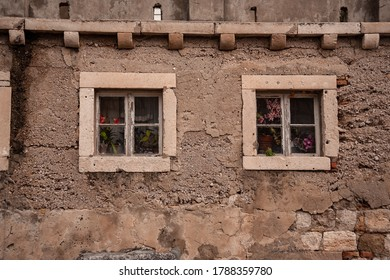 Two Windows in old house in Dubrovnik, Crotia