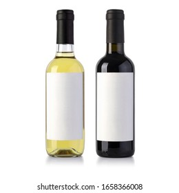 two wine bottles isolated on white with blank label and clipping path