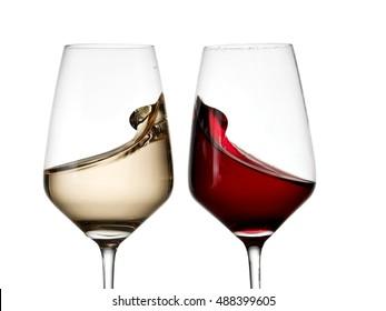 Two wine glasses plash