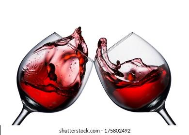 Two wine glasses with wine splash