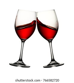 Two wine glasses with wine splash and clipping path