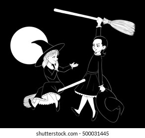 Two Witches on Broomsticks.  One is hanging from her broom and the other is offering help while laughing at her a little.