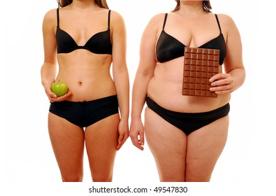 Two woman with different body shapes holding their chosen snack