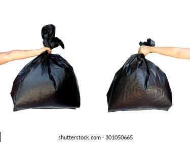 Two woman hands holding garbage bag isolated on white background