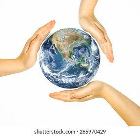Two woman hands protect earth on white background. Elements of this image furnished by NASA