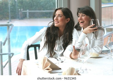 a two woman at restaurant