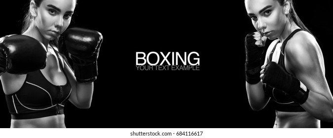Two women boxing on black background with copy space. Sport concept.