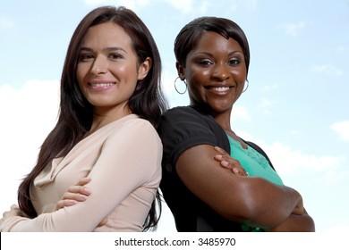 two women business team outside