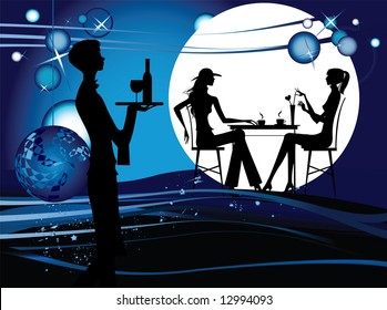 Two women in the cafe. Silhouette of the couple in the cafe, raster version of vector illustration