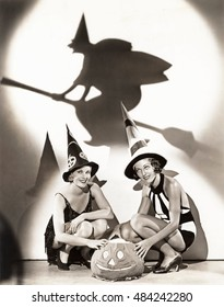 Two women celebrate a bewitching Halloween