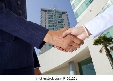 Two women closing a deal