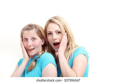 Two women coordinating product placement Two attractive friendly women standing facing each other with their palms out and other hands pointing to copyspace behind them