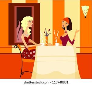 Two women friends talking over coffee