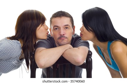 two women kissing one man, isolated on white