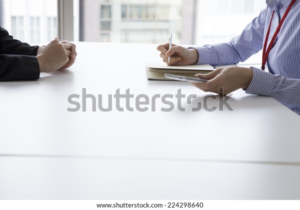 Two women meeting in the office