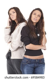 two women in a pose thinking