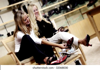Two women shoe shopping
