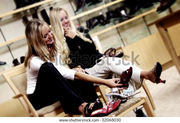 331d2ef1ba6 Two Women Shoe Shopping Stock Photo (Edit Now) 32068030