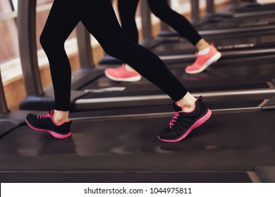Two women in sportswear running on treadmill at the gym. Fashionable sneakers.
